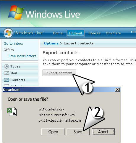 importer msn live contacts email list with CSV file format